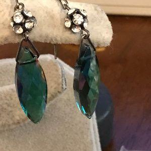 Crystal rhinestone drop pierced earrings